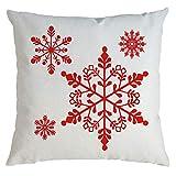 Cuteelf Weihnachten Kissenbezug Dekorative Sofa Kissenbezug Kissenbezug aus Baumwolle Leinen Auto Kissenbezug Haushalt Bett Dekoration Weihnachten Schneeflocke Muster