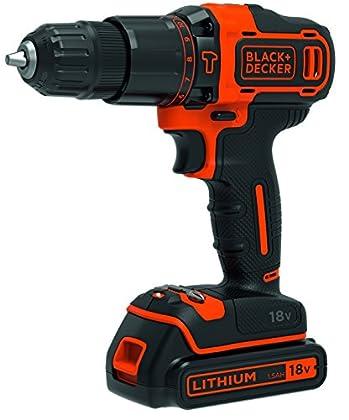 Black & Decker BDCHD18-QW - Taladro (Taladro de pistola, perforacion, Desatornillar, 1400 RPM, 1 cm, 2,5 cm)