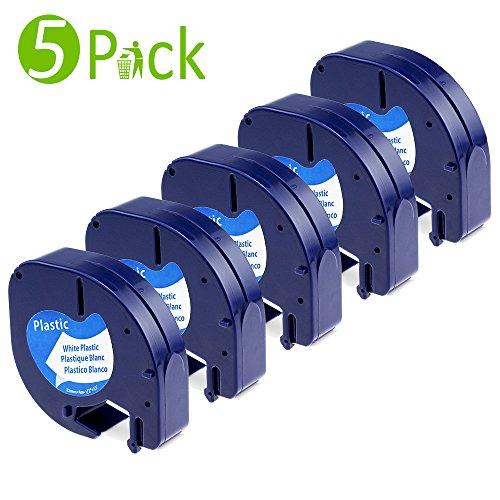 Ersatz Dymo Letratag LT-100T LT-100H LT-110T Kunststoffetiketten, kompatibel Etikettenband S0721660 / 91221/91201 (12 mm x 4 m, Kunststoff, für LetraTag drucker, schwarz auf weiß, 5er-Packung)
