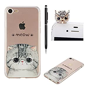 SKYXD Case For iPhone 7 Designed With Meow Cat Pattern Transparent Crystal Clear Ultra Thin TPU Silicone iPhone 7 Back Cover Skin + 1 x Touch Screen Stylus + 1 x Dust Plug