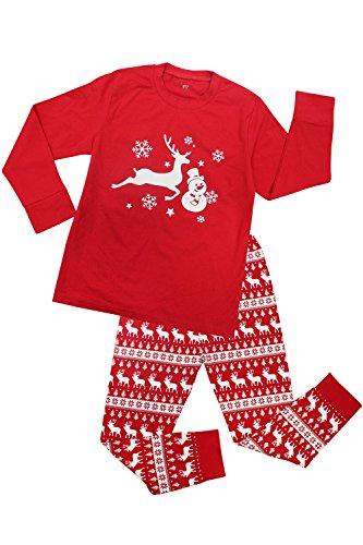 CharmLeaks Jungs Pyjamas Kinder Schlafanzug Unisex Zweiteiler Schlafanzug Rot 116, 4-5 Jahre (Mädchen Schlafanzug Roter)