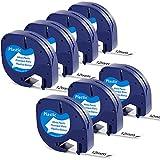 Schriftbänder für Dymo Plastic White 12mm x 4m LetraTag XR Kompatibel Dymo S0721660 Etikettenband LT-91201 für DYMO Letratag LT 100H 100T QX50 XR XM 2000 Etikettendrucker, Schwarz auf Weiß, 7-Packung