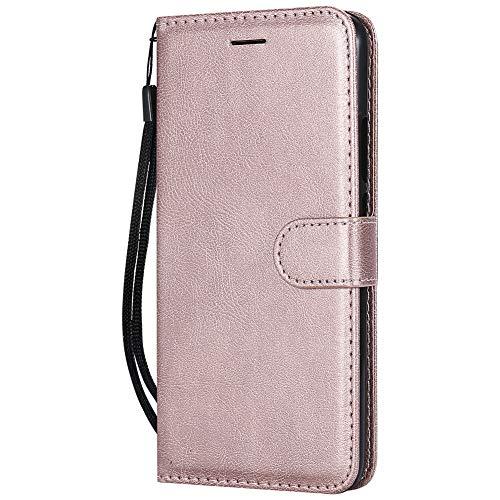 Coopay einfach Solide Farbe Schutzhülle Ledertasche Wallet Hüllen Case Tasche,Standfunktion Card Holder Trageschlaufe Hüllen,Flip Brieftasche Schale Mappen für Huawei P Smart + Lederhülle,Rosegold