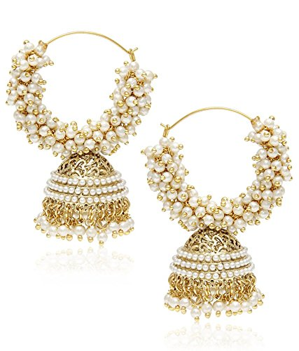 YouBella Gold pearl Hoop earrings for Women