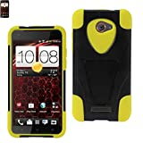 Reiko Wireless HTC Droid Dna Hybrid Heavy Duty Case With Kickstand In Black Yellow - Colored