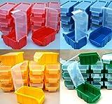 40 Sichtlagerkästen Sichtlagerbox mit Deckel Mixfarben je 10 Stück Stapelboxen Lagerbox Sichtbox