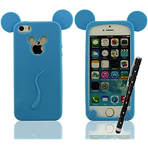 Cover protettiva per iPhone 5 5S 5C 5G, Mickey Mouse Stile Serie, Super Morbida & Magro Silicone Gel Premio Custodia + Bella Penna Stilo, Slap-up Stile Alta qualità iPhone 6S Plus