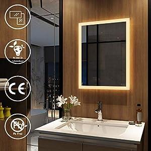 Meykoers Wandspiegel Badezimmerspiegel LED Badspiegel mit Beleuchtung 50x70cm Warmweiß 3000K, Spiegel mit Beleuchtung Lichtspiegel durch Wand-Schalter