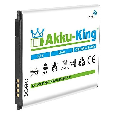 Akku-King Akku für Samsung Galaxy S3 Mini GT-I8190, S III Mini GT-I8190N, GT-I8190T, GT-I8200, GT-I8200N, GT-I8200L - ersetzt EB-LIM7FLU - Li-Ion 1700mAh mit NFC