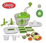 #8: One Stop Shop Slings Manual Food Processor - Chopper, Blender, Atta Maker, Dough Kneader,14 Pieces (Multicolor)