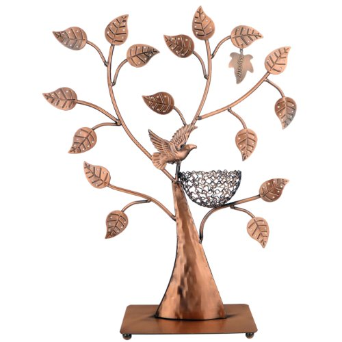 MyGift Jewelry Tree w/ Bird Nest 48 pair Earrings Holder, Bracelets / Necklace Organizer Stand by MyGift