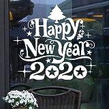 zhuziji 2020 Neujahr Wandaufkleber Weihnachtsbaum Abnehmbare Wandaufkleber Wandbild Weihnachten Aufkleber Schaufenster Poster Home 60x54cm