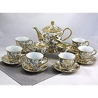 ELIH Porzellan - Juego de café, Porcelana, 17 Piezas