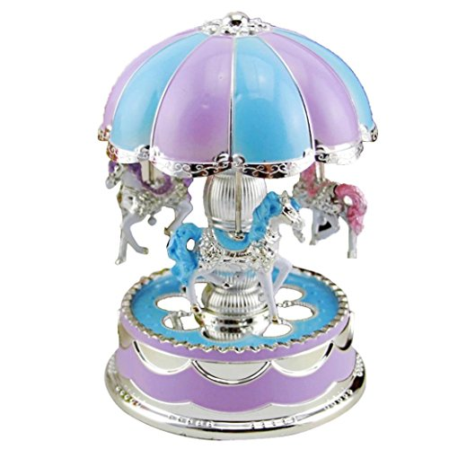 Karussell Spieldose Karussell Spieluhr mit Musik Dekoration Music Box, Upxiang LED Glow in the Dark Karussell Karussell Spieluhr Weihnachtsgeschenk Geschenk (Lila) Rosa Karussell-spieluhr