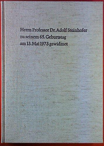 Herrn Professor Dr. Adolf Steinhofer zu seinem 65. Geburtstag. Herbert Spoor: Einfluß der Morphologie auf die Eigenschaften von Polymeren; Karl-Heinz König: neue Wirkstoffe für das Pflanzenschutz-Gebiet; etc.