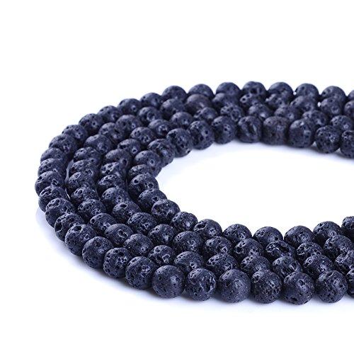 Ruilong - Perles de lave en vrac - 4 mm, 6 mm, 8 mm, 10 mm, 12 mm, 14 mm , Noir , 8 mm
