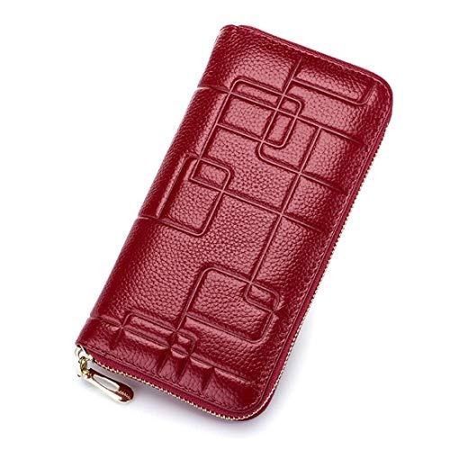 Mifusanahorn Damen Leder Brieftasche aus Leder mit Reißverschluss Lange Brieftasche Clutch Wristlet (Color : Wine red)