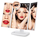 ACOCO LED Light Up Vanity Mirror, Tri-fold Lighted Dressing Table Makeup Mirror with 24 Lights, Illuminated Cosmetic Mirror with 1x/2x/3x/10x Magnification, Touch Screen, Upgrade in 2018 (White)