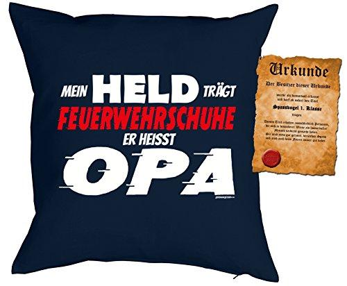 feuerwehrschuhe kinder Opa/Kinder/Deko-Kissen inkl. Spaß-Urkunde Thema lustige Sprüche: Mein Held trägt Feuerwehrschuhe Er heisst Opa