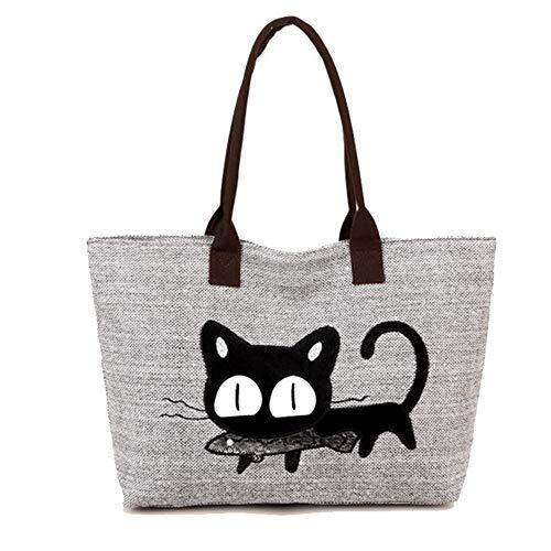 Keepop Damen-Segeltuch-Handtaschen-Karikatur-Katze essen Fisch-Taschen-Geldbeutel-Freizeit-Hobo-Tasche für den Einkauf, grau
