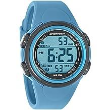 Sportech SP11001 - Reloj de pulsera digital deportivo, unisex, de color gris y azul