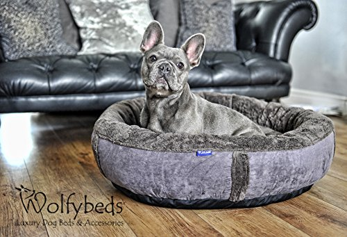 "Wolfybeds Medium Round Fleece Dog Bed in Slate Grey 79cm x 79cm (31"" x 31"") washable covers"