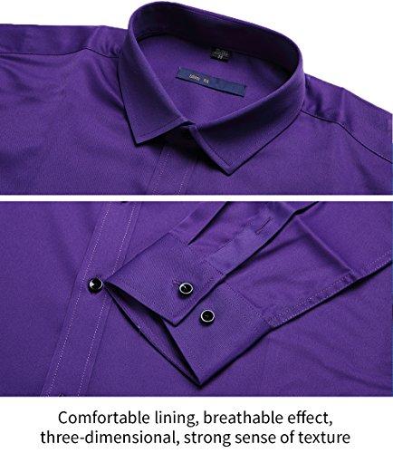 Camicia Elastica di Bambù Fibra per Uomo, Slim Fit, Manica Lunga Casual/Formale, 10 Colori Viola