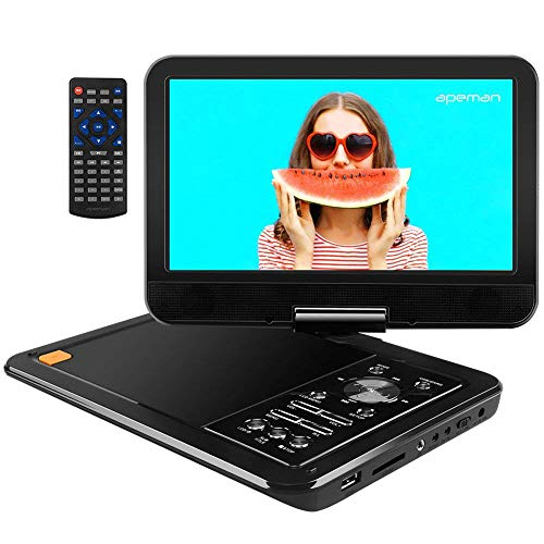 "APEMAN Upgraded 12.5″ Portable DVD Player with 10.5"" Swivel Screen Built-in 6 Hrs Rechargeable Battery SD Card/USB AV IN/OUT, Supported Direct Play in Formats AVI/RMVB/MP3/JPEG, Home/Hospital/Car"