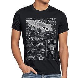 style3 917K Blaupause Herren T-Shirt Le Mans, Größe:L, Farbe:Schwarz
