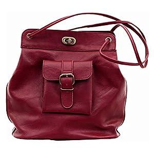 Le1950 Rojo Oscuro Bolso de Cuero borgoña Estilo Vintage de inspiración años 50 PAUL MARIUS