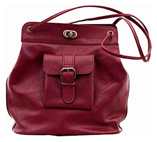 PAUL MARIUS damentasche handtasche inspiriert von den 50er Jahren ledertasche dunkelrot LE 1950