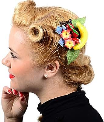Cute tiki tROPICAL fruit peigne ornement de cheveux motif fleurs de frangipanier corbeille à fruits rétro 50s rockabilly