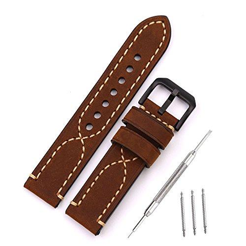 mysunny Uhrenarmband 22mm Leder Braun für Herren Uhren Damen Original Watchband Retro Echtes Leder kalbsleder Lederarmband Ersatzband für Armbanduhren Verwendbar auf Militäruhrbügel, Fluguhrbügel,Sportuhrbügel und so Weiter(Klassische Schwarze Schließe )