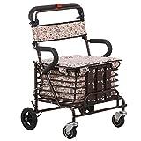 Faltender Vierrad-Roller-Wanderer mit gepolstertem Sitz, älterer Einkaufen-Roller-faltender Sitz, kann Vier Runden nehmen, um Nahrungsmitteldosen zu kaufen Kann verwendet Werden,001