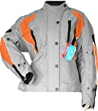 German Wear Damen Motorradjacke Textilienjacke Grau Orange