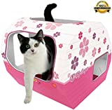 ***CLEARANCE PRICE*** Best Cat Toys for Indoor & Outdoor Cats by Kitty Camper - Stylish Cardboard Play House Designed to Keep Your Pet Happy. Makes a Great Toy or Bed for Rabbits, Cats, Kittens Rats, Bunnies, Ferrets and other Small Animals - *FREE* eBook - PRETTY IN PINK