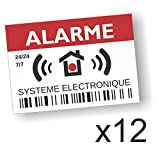 Decooo.be Autocollants dissuasifs Alarme - Système électronique - Lot de 12 - Dimensions 7,4 x 5,2 cm