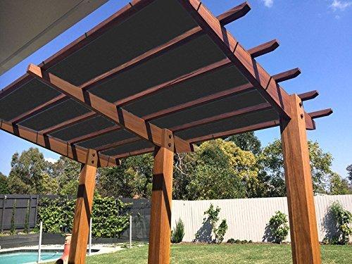 Ecover 90% Schatten Tuch Schwarz Sunblock Stoff mit Seil UV-Beständig für Terrasse/Pergola/Himmel, 12x 16ft
