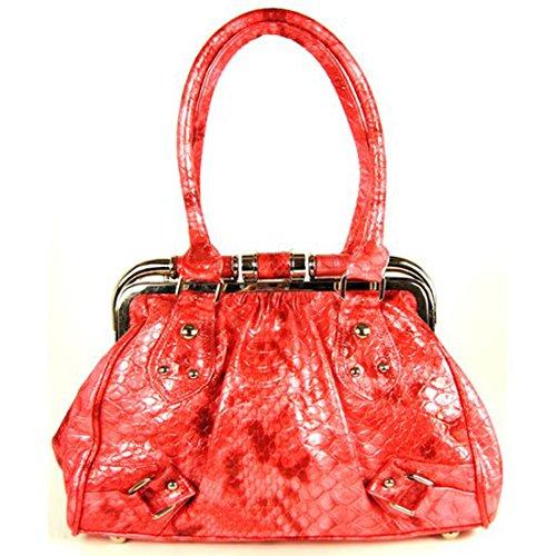 Zarla-Borsa a tracolla da donna in finta pelle, effetto serpente, con struttura in metallo per la scuola Rosa (rosa)