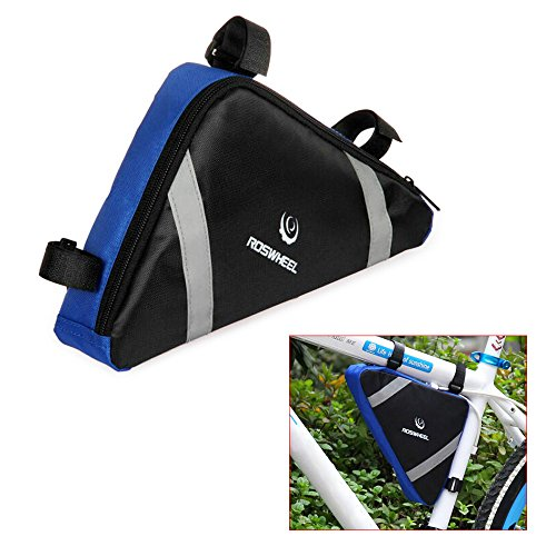 ROSWHEEL Fahrrad-Dreiecktasche Rahmentasche Radtaschen Triangle Bag aus hochwertigem Nylon für Mountainbikes, Fahrräder, Rennräder schwarzblau