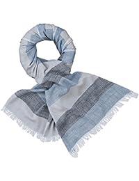 a202c0cd6fe57c LINDENMANN Herren Schal Sommer/Baumwolle-Leinen, Herrenschal,  blau-grau-schwarz