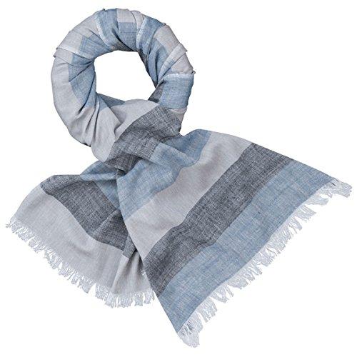 LINDENMANN Herren Schal Sommer/Baumwolle-Leinen, Herrenschal, blau-grau-schwarz