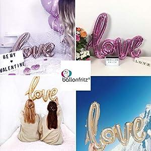 ballonfritz® love-Schriftzug Luftballon in Rosegold - XXL Folienballon als Hochzeits-Deko, Liebes-Geschenk oder Überraschung zur Hochzeit, Valentinstag, Jahrestag, Geburtstag oder Heiratsantrag