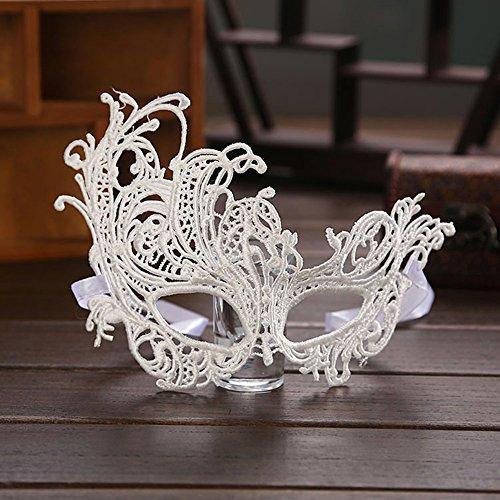 (Cosanter Masken Halloween Maske für Erwachsene Herren und Damen Funkelnd Mitternacht Venetianische Maskerade Maske weiß)