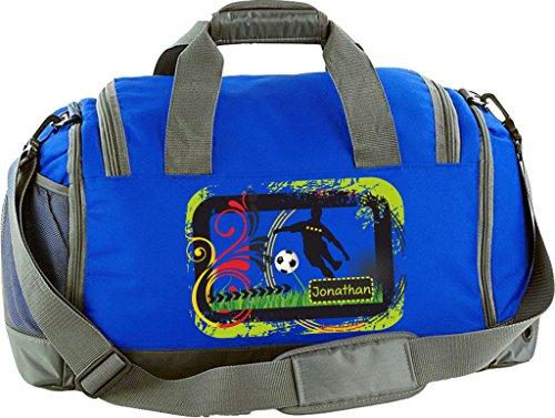 Sporttasche Multi Sport mit Schuhfach und Nassfach individualisierbar mit Namen und Wunschmotiv (limegreen) royalblau