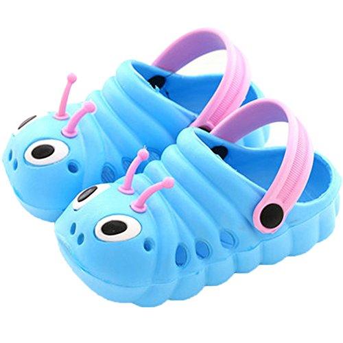 Kleine Tomate Unisex Kinder Hausschuhe Kinder Clogs Gartenschuhe Raupe Bequemer Atmungsaktiv Strand Aqua Slippers, Blau, Gr. 21(Schuhe Innenlänge:125mm)