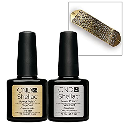 CND Shellac Gel UV Base and Top Coat 7.3ml / 0.25 oz + Gold Color Bracelet
