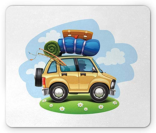 Drempad Gaming Mauspads, Road Trip Mouse Pad, Man Travelling in a Car with Camping and Fishing Equipment for Adventure Theme, Rectangle Non-Slip Rubber Mousepad, Multicolor 9.8 X 11.8 INCH