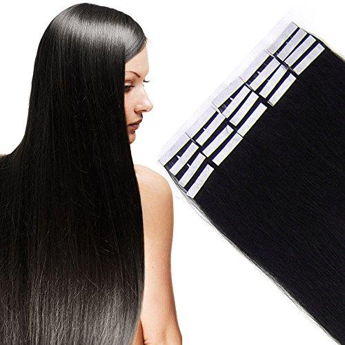 Tape Extensions Echthaar -100% Remy Echthaar Haarverlängerung glatt Schwarz,50cm-50g (20 stück+10pcs free tapes)