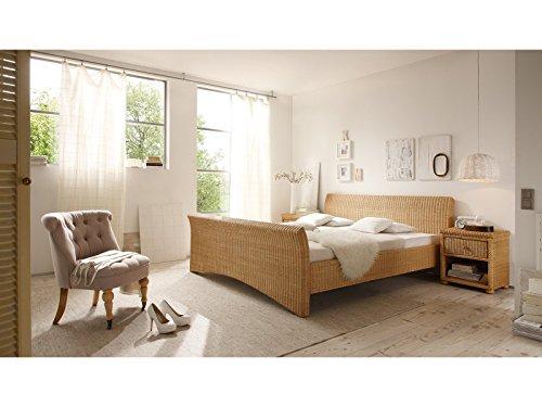 massivum Bett Nivada 140x200cm Rattan braun lackiert - 6